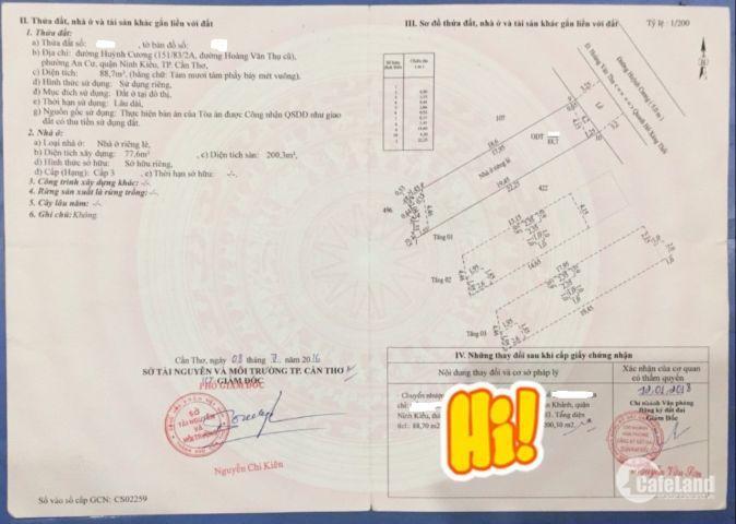 Nhà đẹp, mặt tiền đg Huỳnh Cương, An Cư, Ninh Kiều, TPCT. 1 trệt 2 lầu. DTSD: 200m2