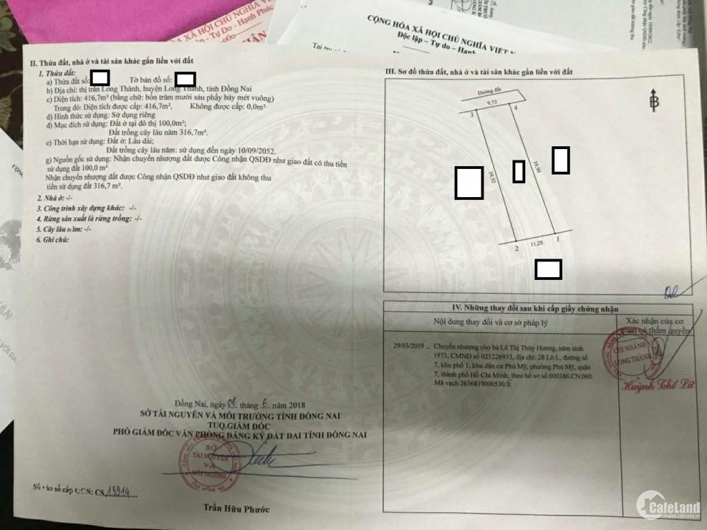 chủ nhà trúng số , bán nhà giá đất đi Phú Quốc ở , 417m2 tại tt Long Thành