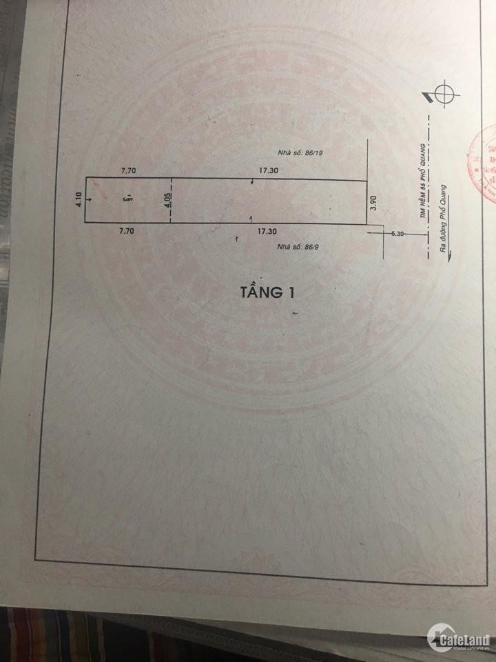 chính chủ cần tiền gấp bán cắt lỗ căn nhà đườn Phổ Quang giá 13,5 ty