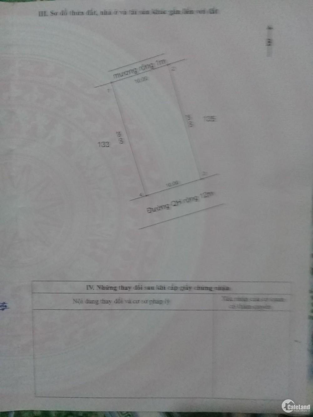Bán gấp lô đất chính chủ tại Huyện Cẩm Xuyên, Tỉnh Hà Tĩnh