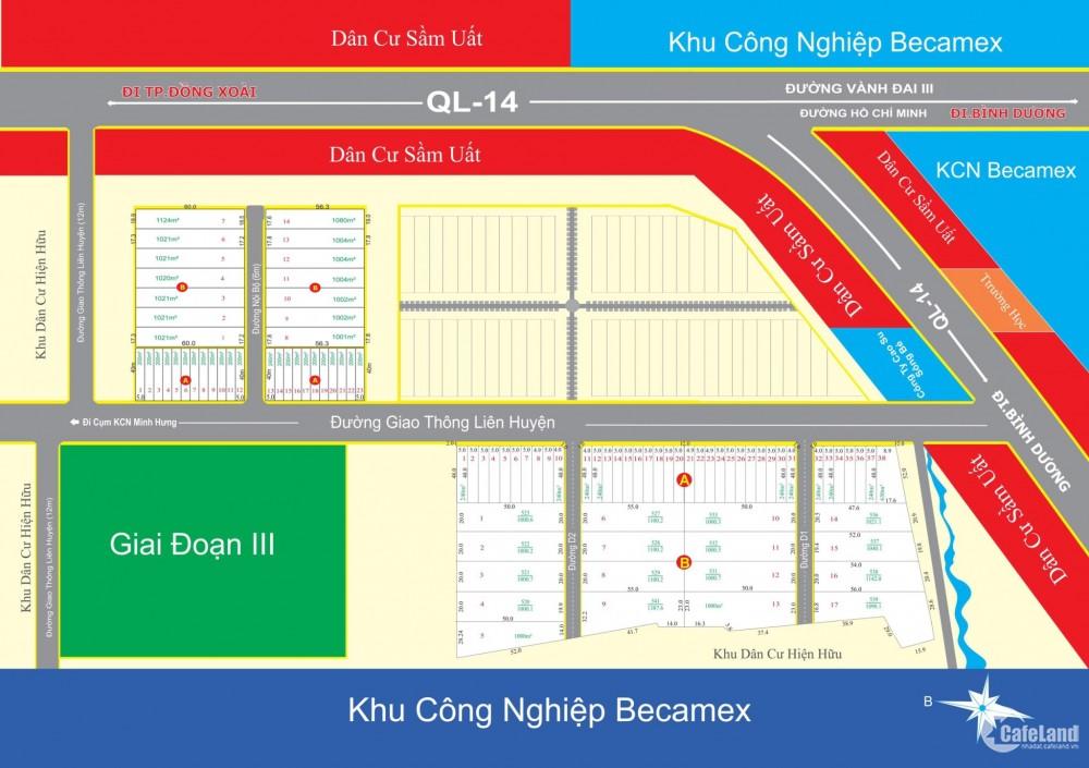 đất nền thương mại khu công  nghiệp  becamex ,dt 20x50 m , đường nhựa  dx40