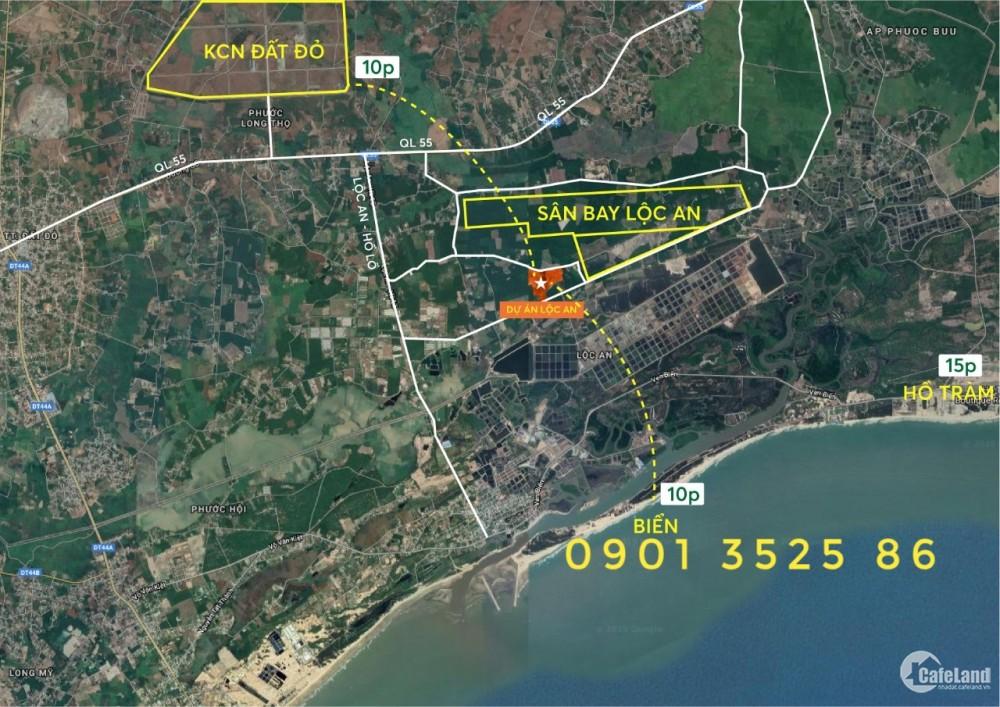 1.98 triệu/m2, đã có sổ, ngay cửa vào sân bay Lộc An( Hồ Tràm)