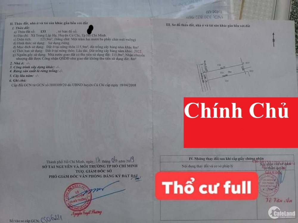 Chính Chủ Bán Rẻ Đất Củ Chi Đường Nguyễn Thị Rành
