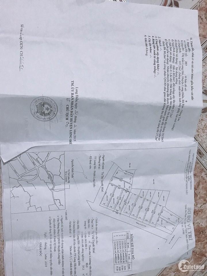 Chính Chủ cần bán đất 3 nền sổ đỏ khu Long Hải 107,187,82m2 giá 1tỷ