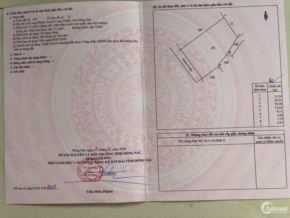 Gia đình cần bán nền đất hồng 511m2 Long Phước, Long Thành có 300 thổ cư.