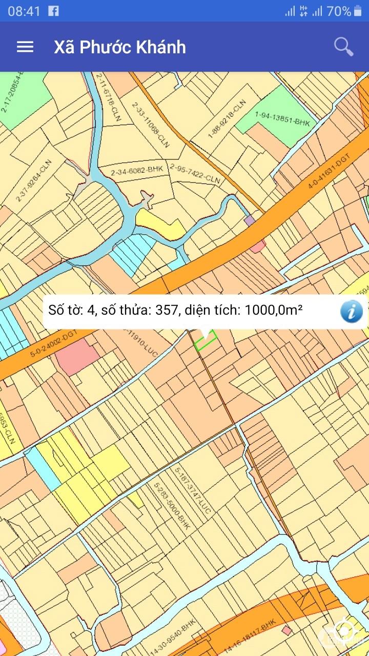 Bán đất xã phước khánh 1000m² giá 4.5 triệu/m²