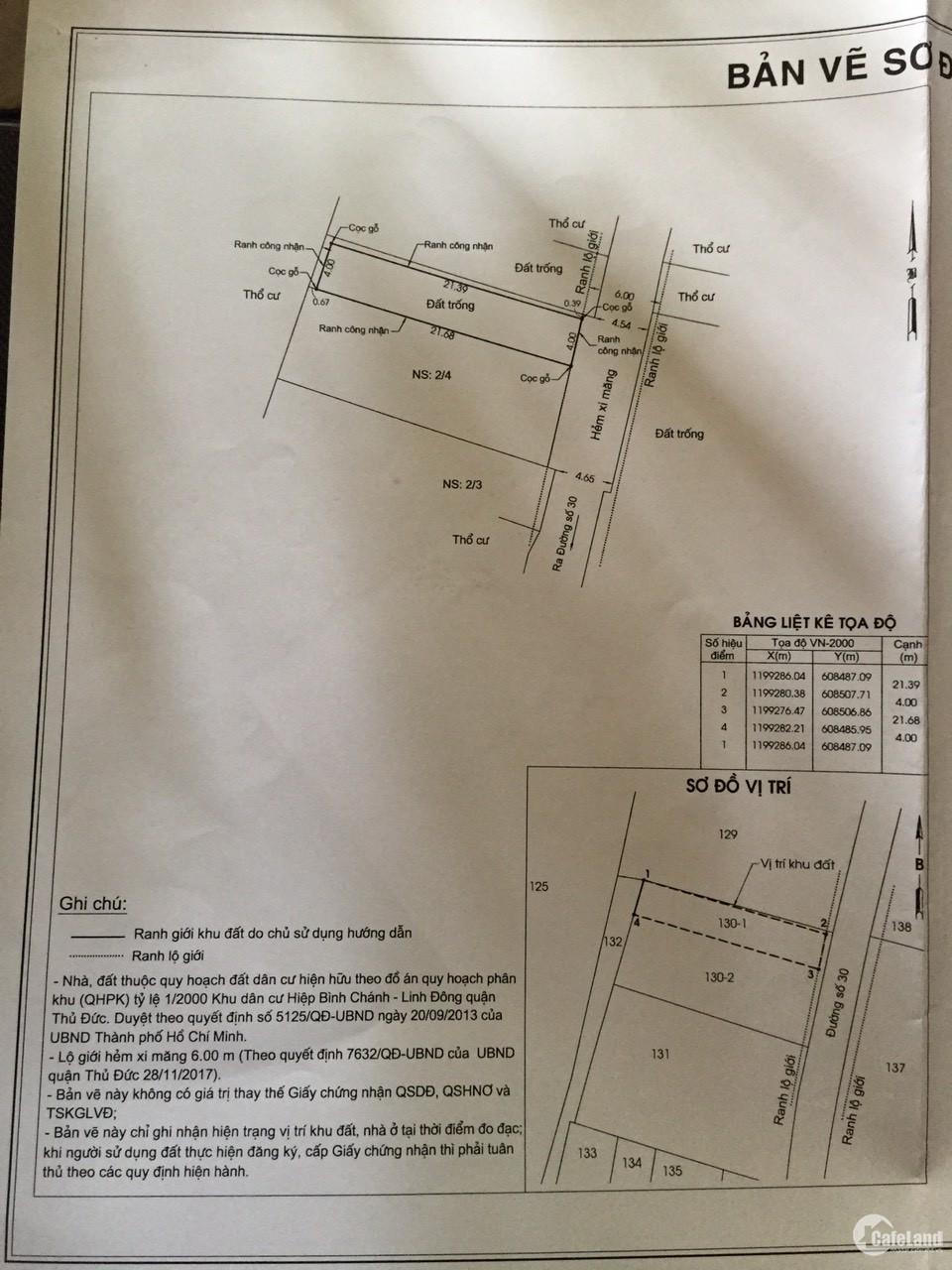 Bán lô đất hẻm số 2 đường 30, Linh Đông, DT 86m2, khu dân cư hiện hữu, đường 5m