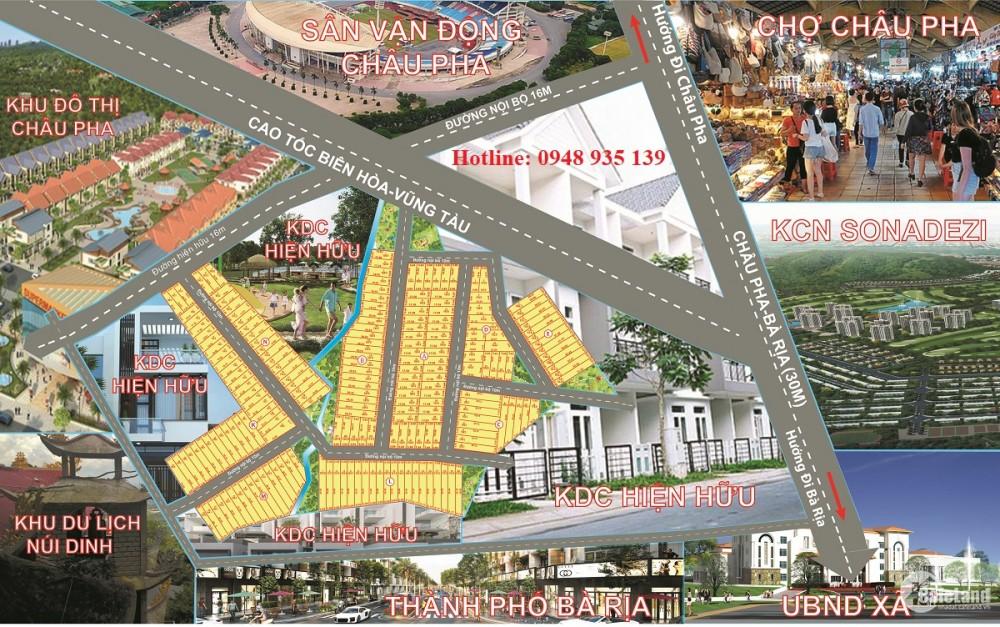 Bán đất nền dự án Châu Pha, dt 100m2, giá 2,5 triệu/m2, vị trí Tân Thành - BRVT