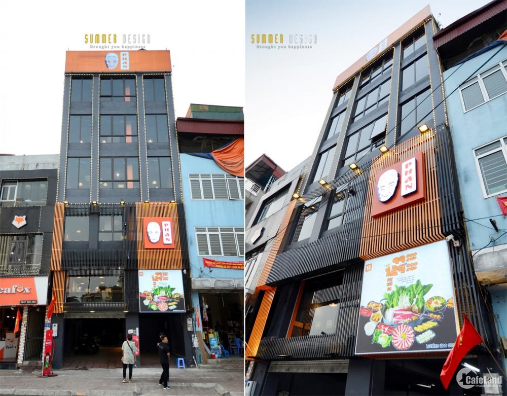 Cho thuê nhà làm nhà hàng mặt phố Vũ Tông Phan: MT7m, vỉa hè 5m.