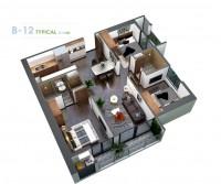 Căn hộ 3 phòng  ngủ, nội khu nhiều tiện ích.