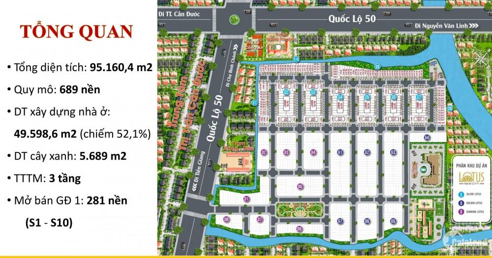 Đất nền Lotus New City Quốc lộ 50 , Cần Đước Long an