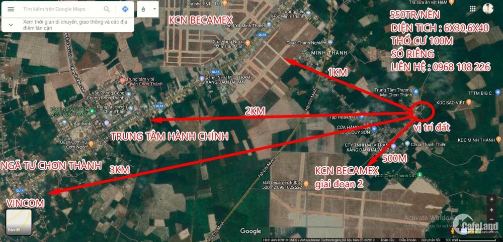 Đất Nền 180m2(6x30).Thổ cư 100m,sổ riêng 550tr/nền. Liền kề KCN Becamex.