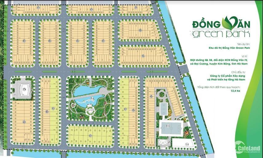 Đất Nền KĐT Đồng Văn Green Park cho nhà đầu tư,sinh lời, chiết khấu 5 chỉ vàng