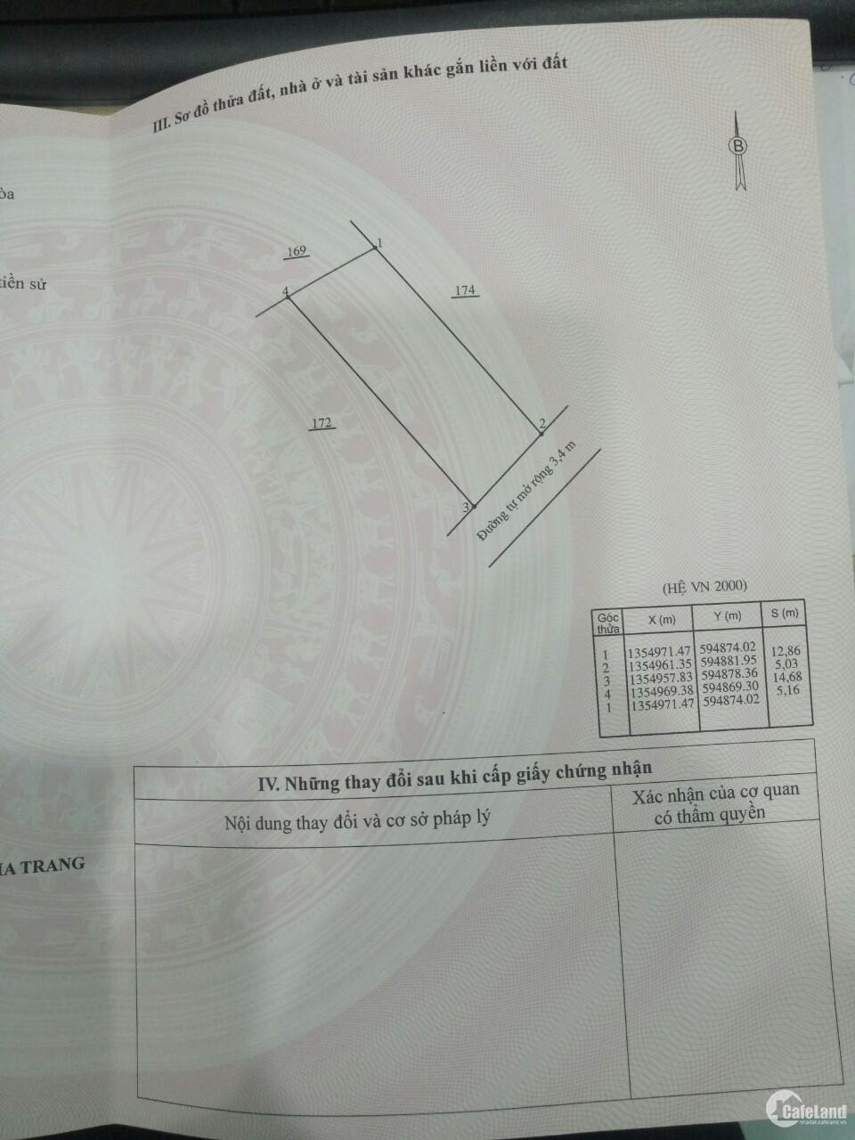 Bán đất Vĩnh Trung Nha Trang giá rẻ vị trí tiềm năng, sổ đỏ full thổ cư