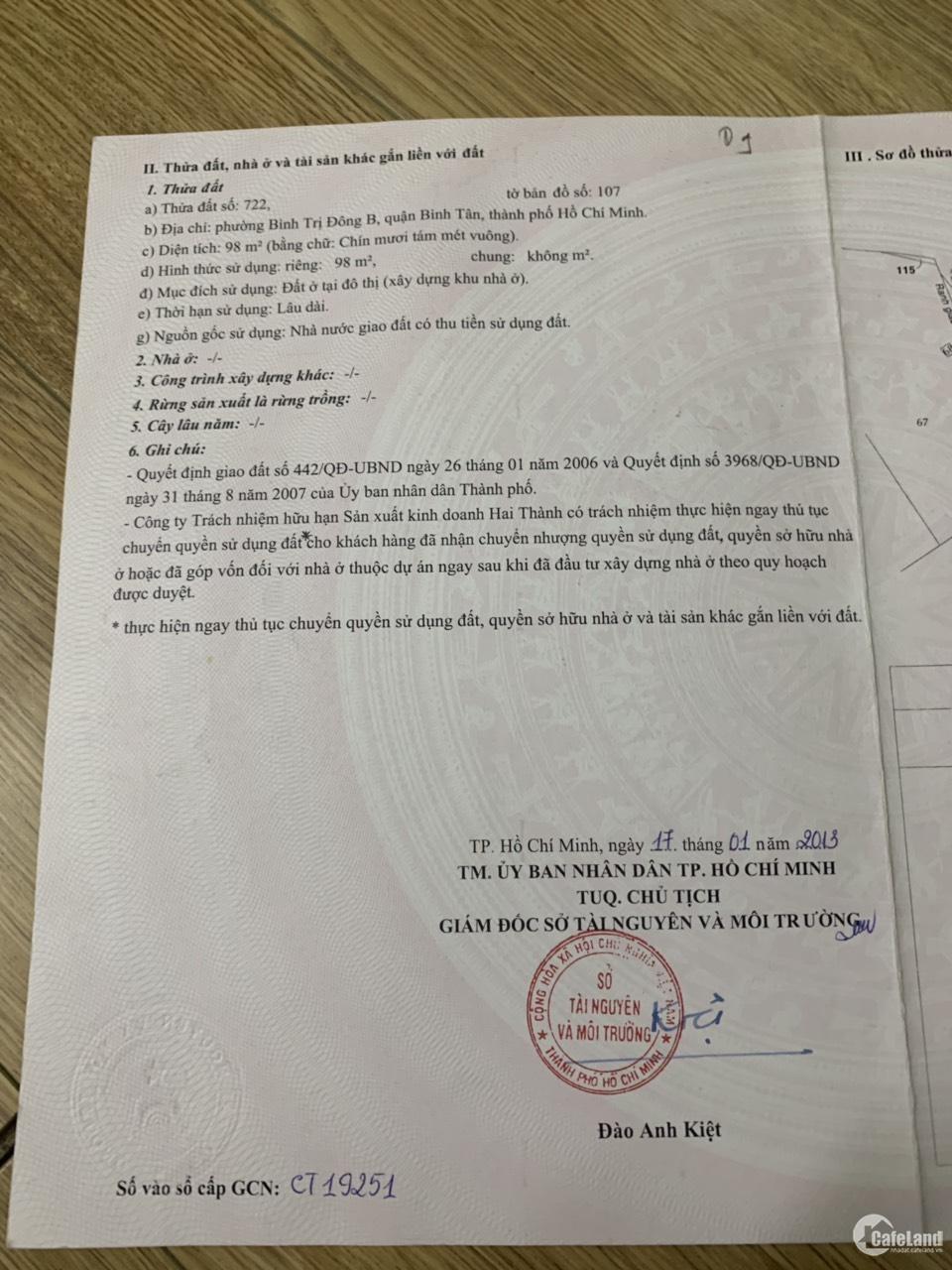 Bán đất KDC Hai Thành ngay cổng Pouyen đường số 7 rẻ nhất khu vực,giá chốt 1,950