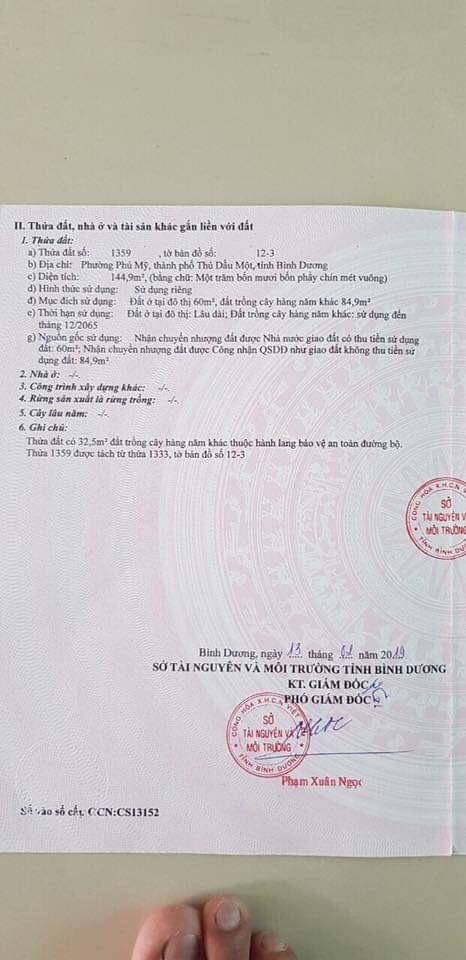 Đất mặt tiền đường DX051 P.Phú Mỹ - Thủ Dầu Một