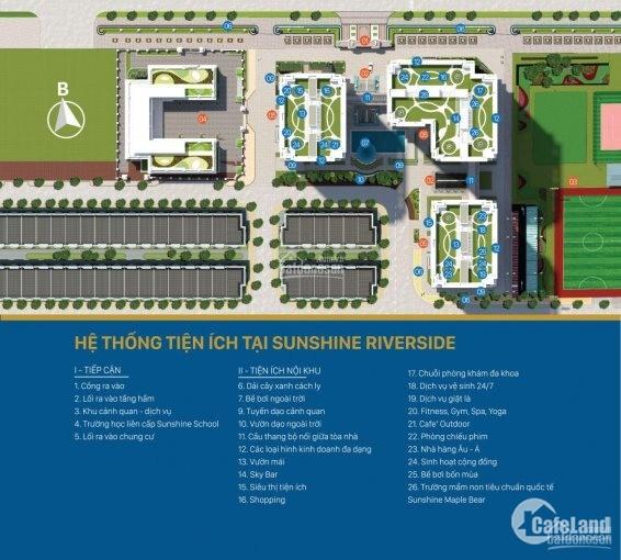 Dự án Sunshine Riverside, CH cao cấp nhận nhà ở ngay. Bán căn góc 3PN