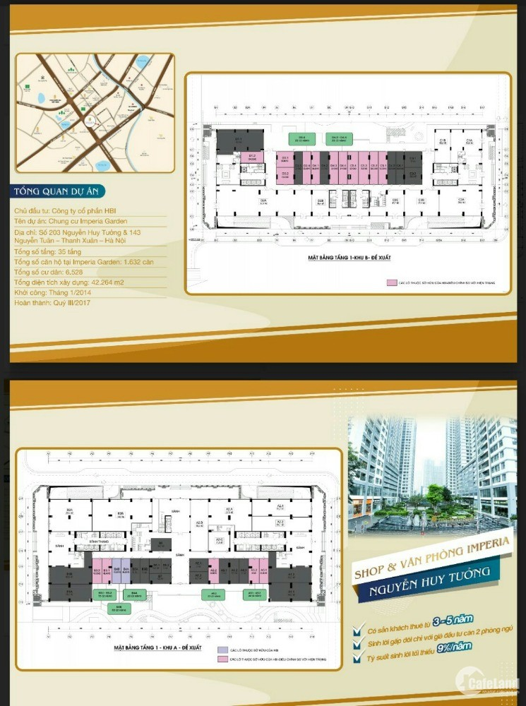 Mở bán Shop 2 mặt tiền và Văn phòng - Imperia –Nguyễn Huy Tưởng–Thanh Xuân- HN