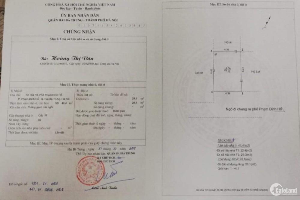 Bán nhà chính chủ trong ngõ Phạm Đình Hổ, quận Hai Bà Trưng, Hà Nội, giá tốt