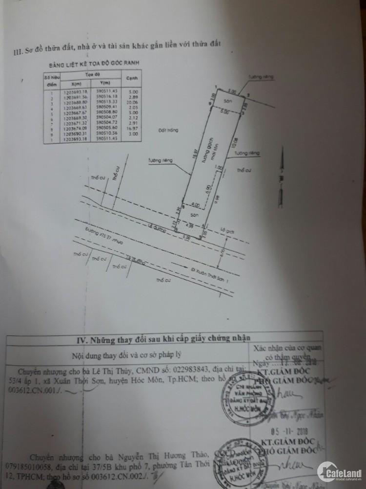 Bán nhà chính chủ tại 75/6 A, đường XTS 27, xã Xuân Thới Sơn, H. Hóc Môn, HCM