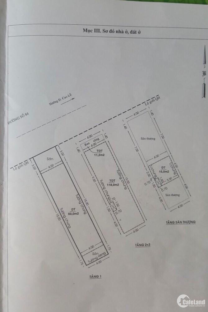 Bán gấp nhà mặt tiền đường 8 Cao Lỗ, phường 4, quận 8, 79m2,  8,95 tỷ