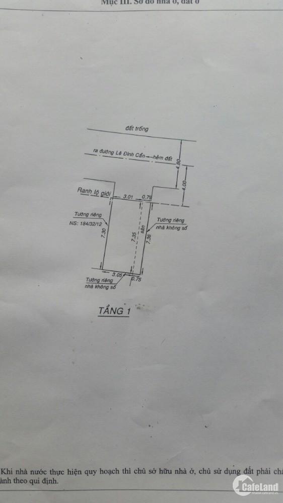 nhà 1 trệt 1 lầu đường lê đình cẩn hẽm 6m  f tân tạo q bình tân