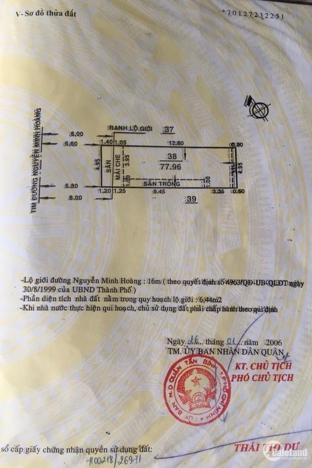 Chính chủ cần bán nhà riêng, mặt tiền đường Nguyễn Minh Hoàng