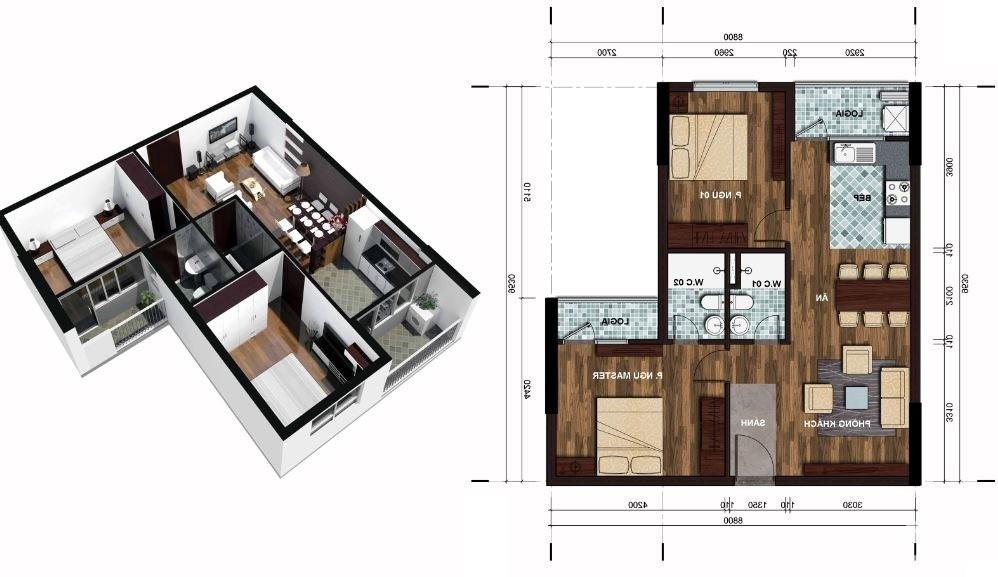 Cho thuê căn hộ the Vesta 67m2, 2PN, 2VS, 4 triệu / tháng. Lh 0903440669
