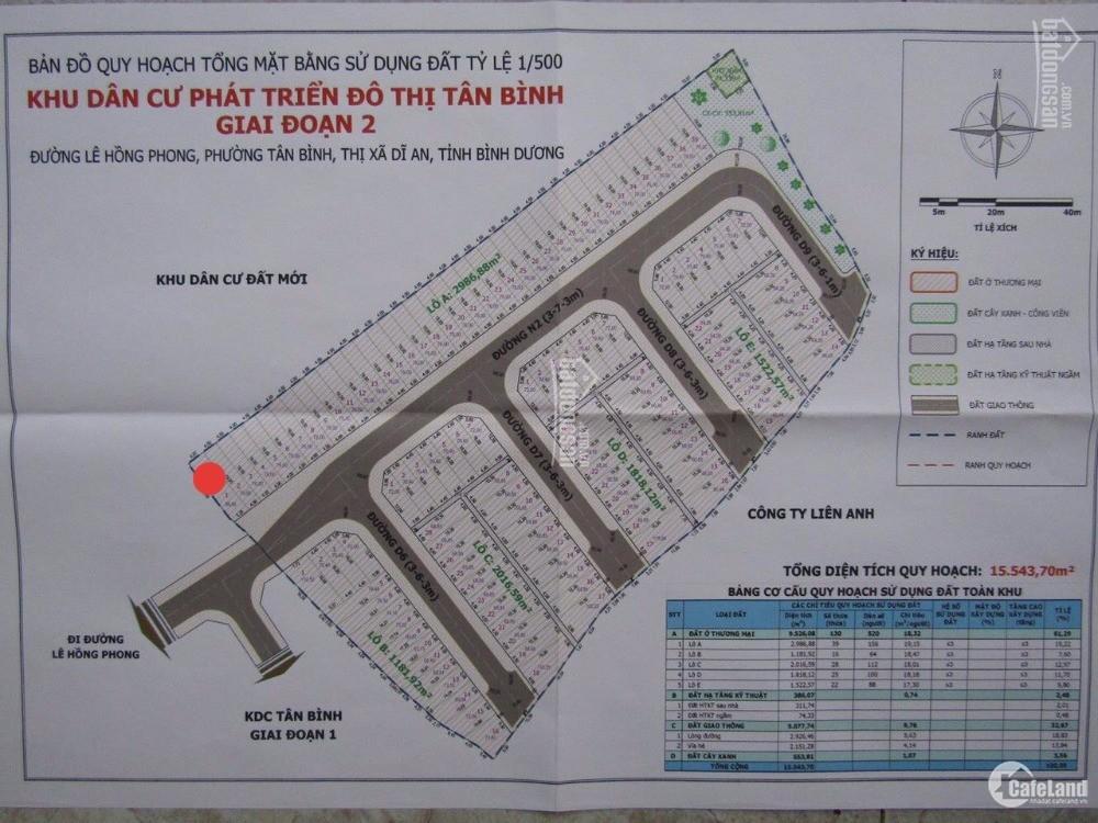 Bán đất sổ riêng, 99m, đường trục chính của dự án lê phong tân bình dĩ an
