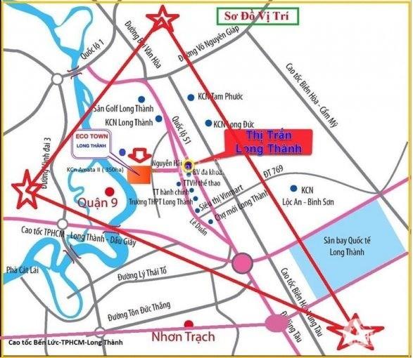 Đất Eco Town Long Thành gần sân bay quốc tế Long Thành chỉ với 600 triệu ( 40% )