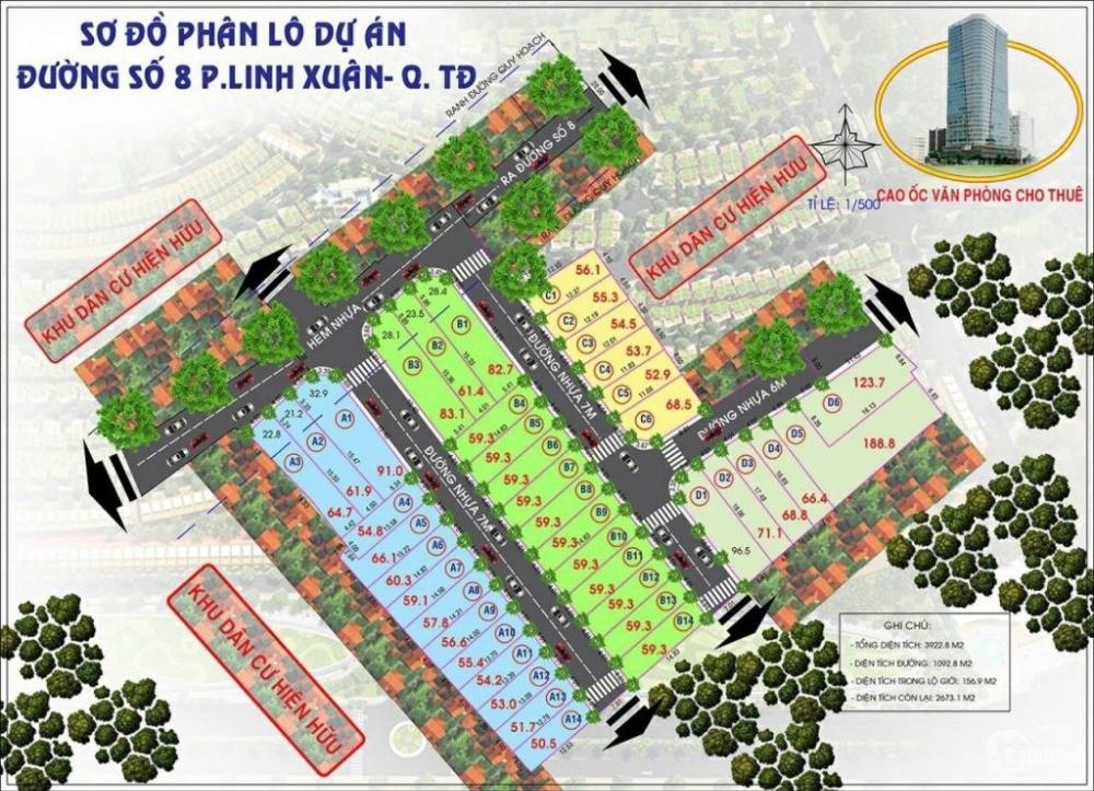 Bán đất dự án đường 8, Linh Xuân, sát QL1K, giá tốt nhất khu vực chỉ 2ty3/nền ,