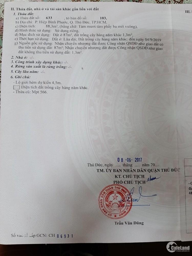Bán lô đất 88m2/ giá 40tr/m2  gần Cân Nhơn Hòa .P. Hiệp Bình Phước
