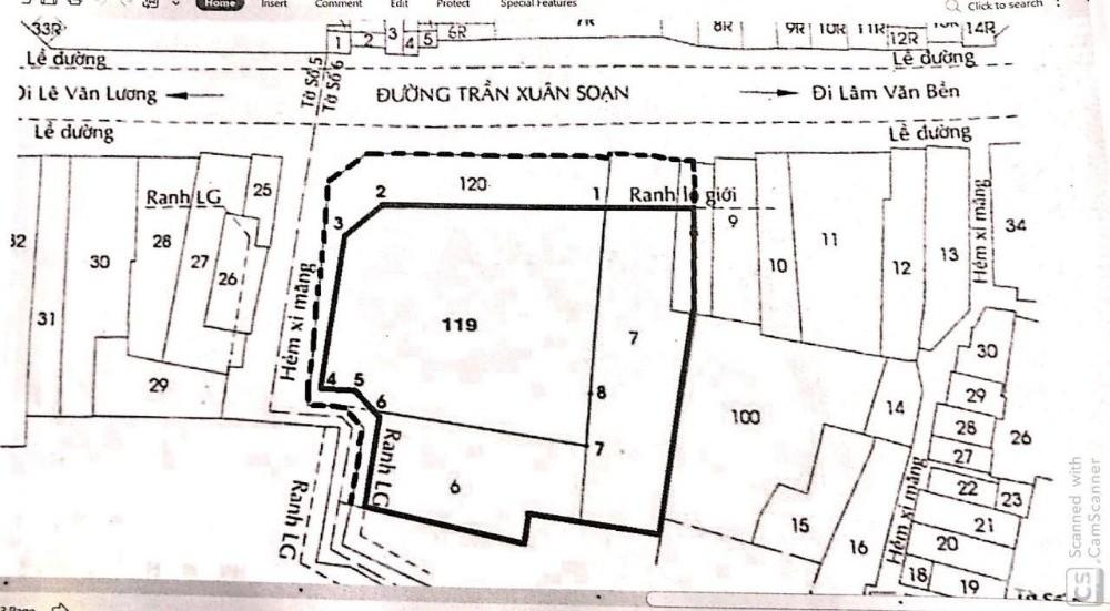 Mặt tiền Trần Xuân Soạn Quận 7, 2000m2 Có Thổ Cư, đang cho thuê 120tr/m2