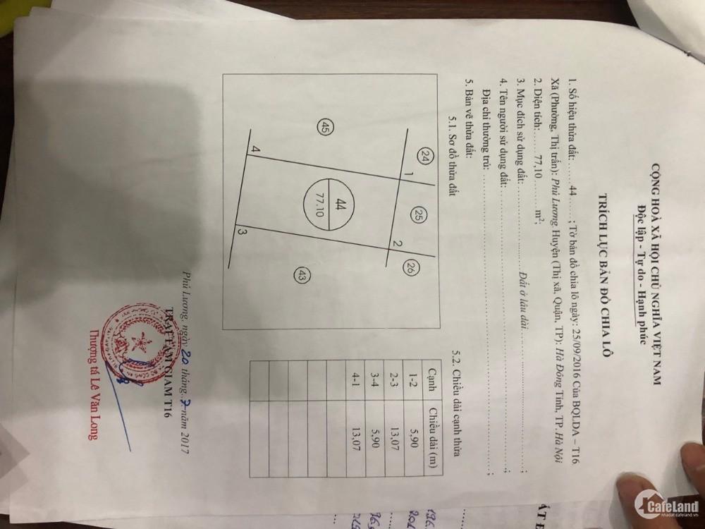 bán gấp lô liền kề tại khu đất phân lô cho cán bộ trại gian T16 Phú Lương