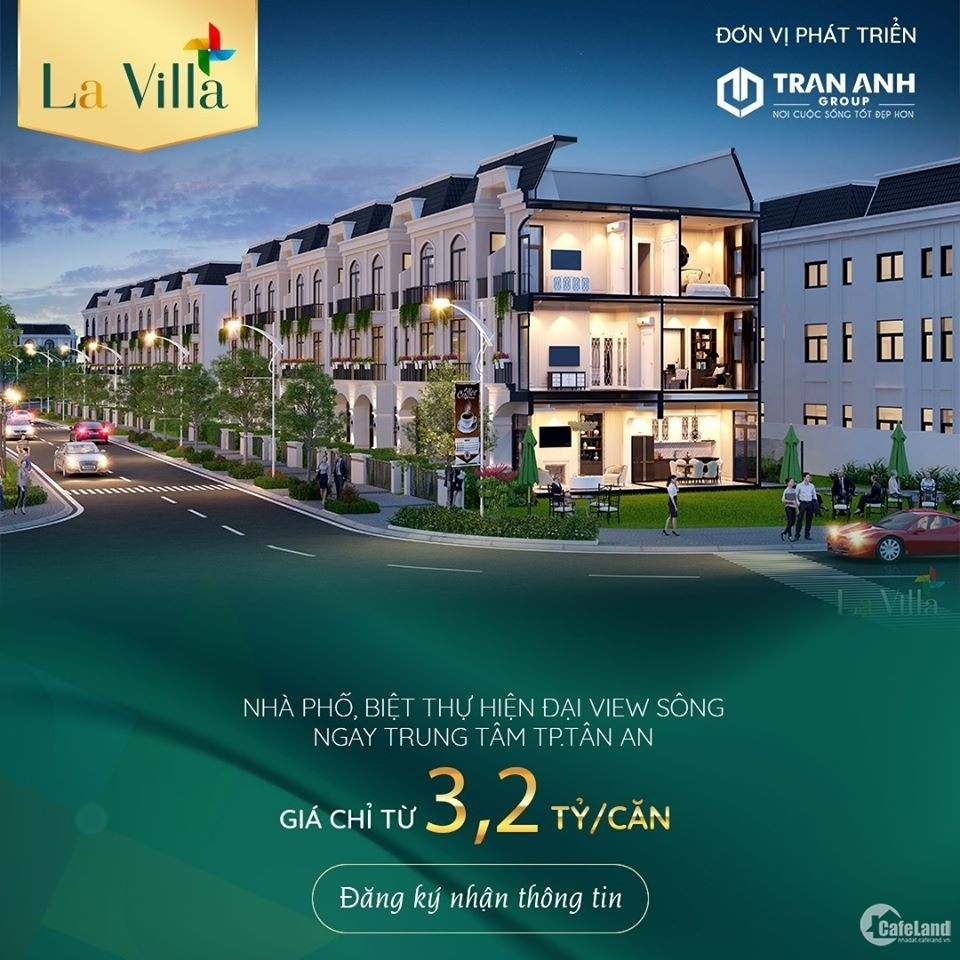 Lavilla Green City, P6, tp Tân An, 5x20m, 1 trệt 2 lầu, SHR từng căn.