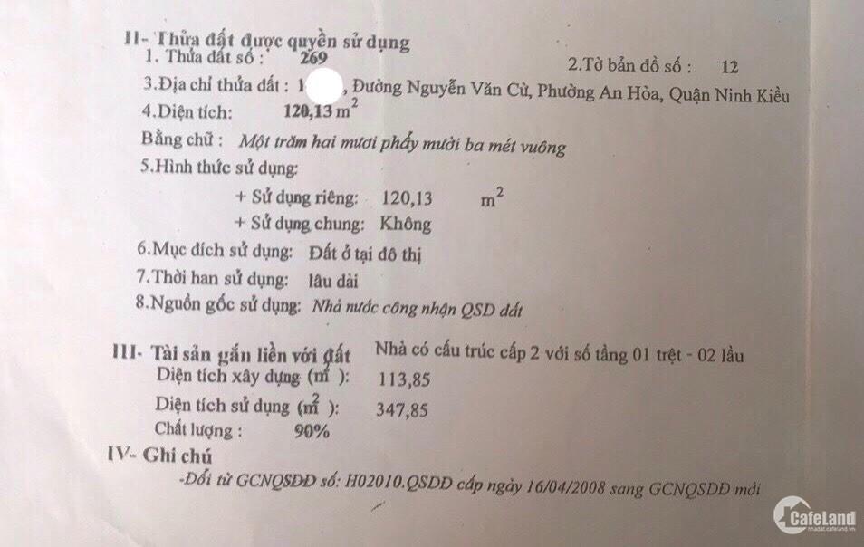 Bán nhà mặt tiền chợ An Hòa Nguyễn Văn Cừ - 6.35 tỷ