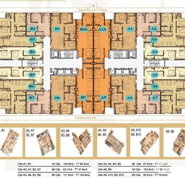Cho thuê chung cư Mỹ Sơn Tower. DT 104m2. 3 PN, 1 PK, Bếp, 2 WC. 13 triệu/tháng
