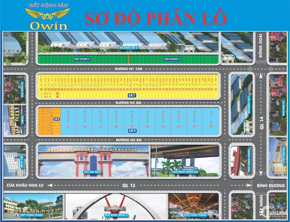 Dự án Đại Nam giá 690tr/1000m2, cách QL13 500m, sổ hồng riêng.