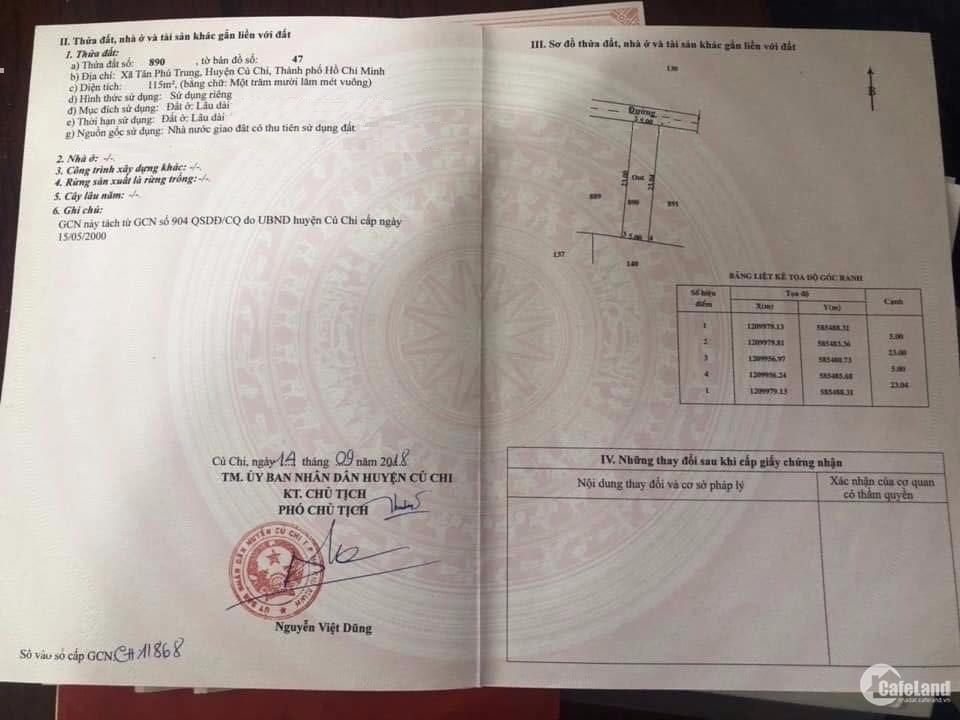Bán lô đất Tân Phú Trung 5,5x21m thổ cư 100%,SHR,750tr