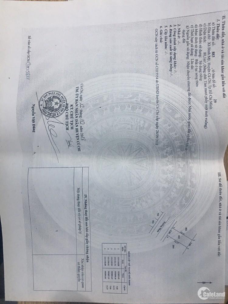 Chính chủ cần bán gấp đất KDC mặt tiền đường Võ Văn Bích, Bình Mỹ, Củ Chi