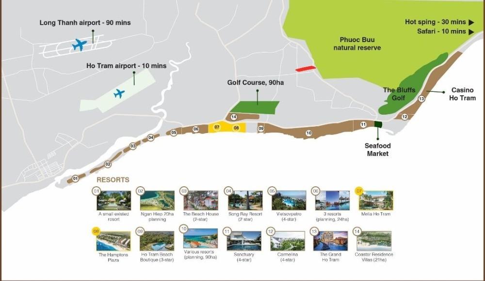 Đất nền liền kề Novaworld Hồ Tràm, đã có SHR từng nền, giá chỉ từ 7,5tr/m2.