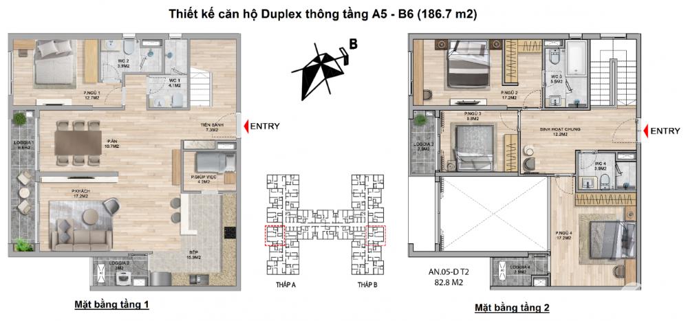 Bán căn Duplex diện tích 185.8m2 tại The Zei Mỹ Đình