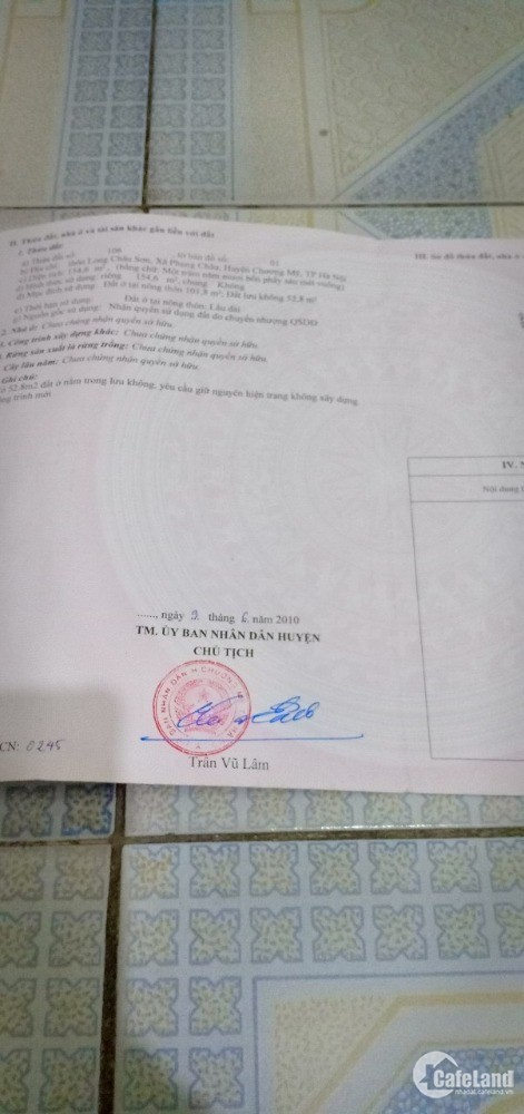 bán đất thôn Phụng Châu, Chương Mỹ, Hà Nội