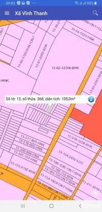 cần bán đất xã vĩnh thanh .diện tích 105 m2.giá ban 1 tỷ 800