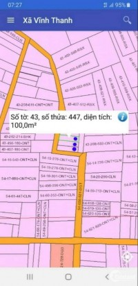đất xã vĩnh thanh .diện tích 100 m2 .giá bán 1 tỷ 7