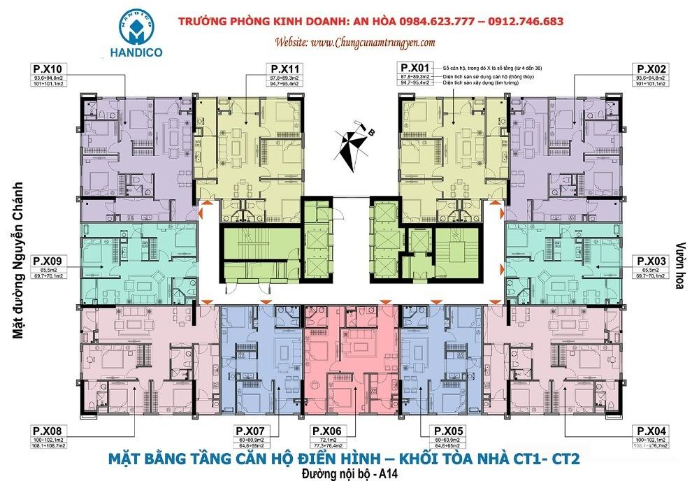 Bán gấp căn hộ A10 Nam Trung Yên, DT 94,8m2 3 ngủ giá tốt 31tr/m2. LH:0983292695
