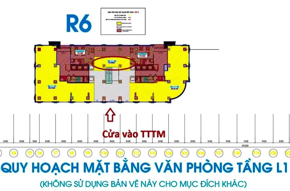 Bán Shop office Royalcity sảnh tầng 1 TTTM Toà R6-110m2