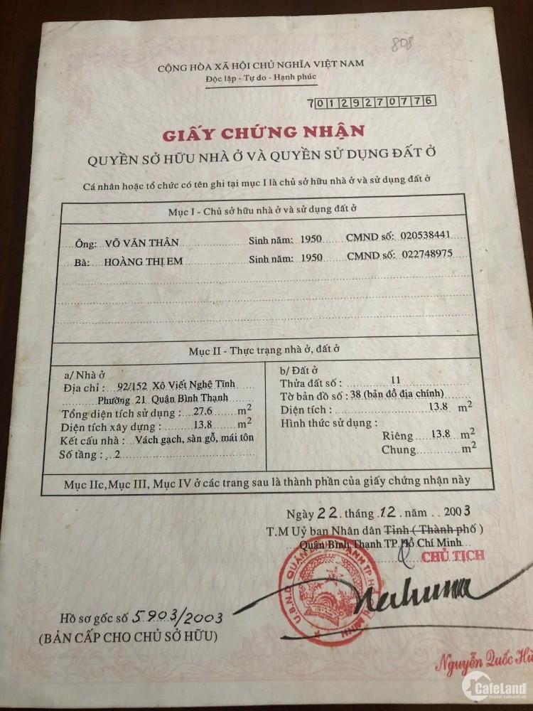 Bán nhà 92/152 Xô Viết Nghệ Tĩnh, phường 21, quận Bình Thạnh