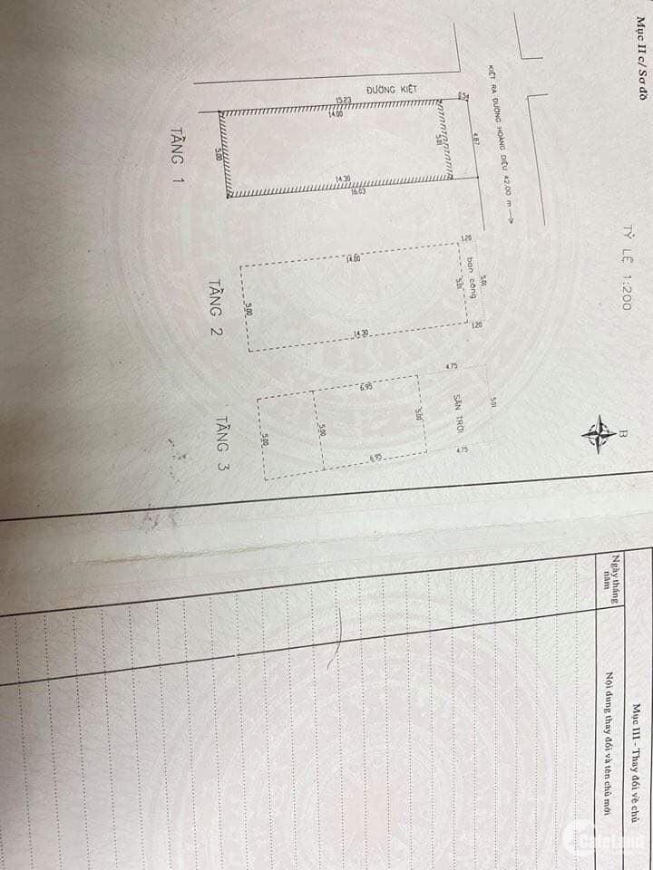 Cần bán đất có nhà 2 mặt Kiệt ô tô 5m đường Hoàng Diệu,ô tô vào tận nhà