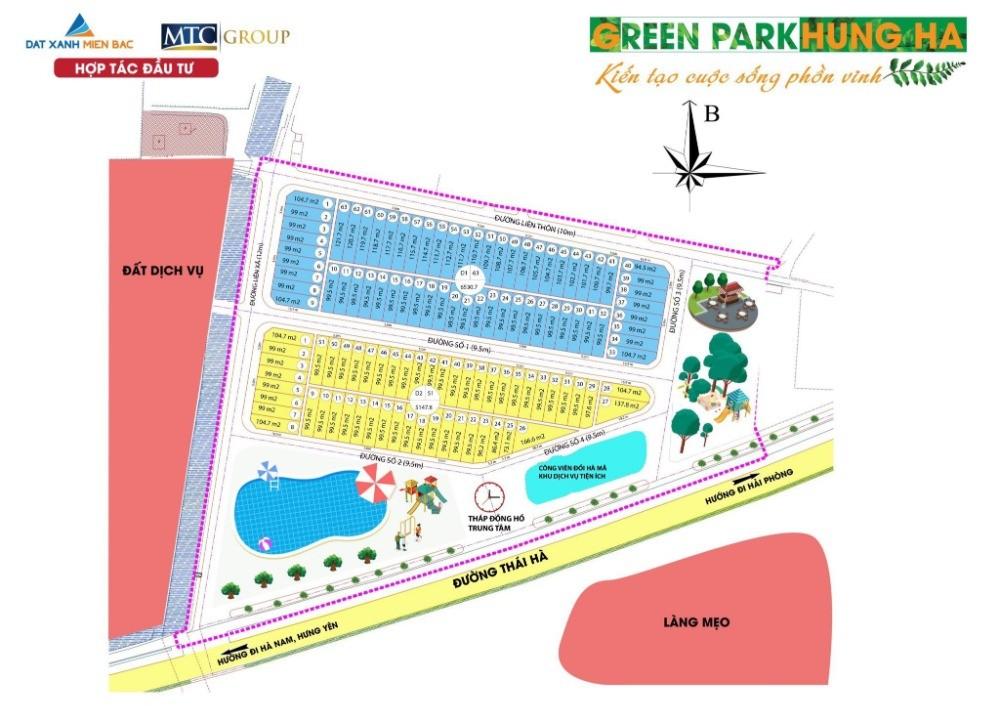 Bán đất nền giá rẻ Green Park Hưng Hà 8tr/m2 tại Xã Thái Phương